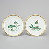 Two french enamelled porcelain dishes, rouard, paris, 20th century.