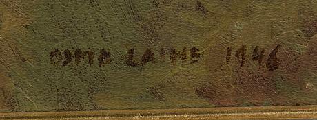 Osmo laine, öljy pinnoitetulle levylle, signeerattu ja päivätty 1946