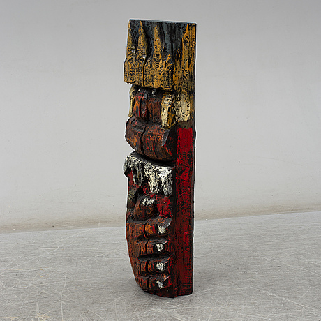Calle Örnemark, skulpture, carved and painted wood, signed cÖ