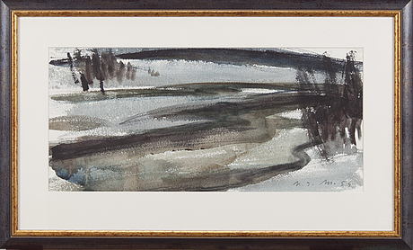 Nandor mikola, watercolour, signed and dated  54
