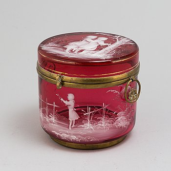 A glass box with lid, Mary Gregory style, second half of the 19th century.