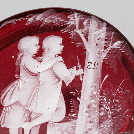 A glass box with lid, mary gregory style, second half of the 19th century