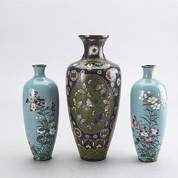 VASER 3 st Japan Cloisonné-arbete omkring 1900.