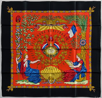 HERMÉS, scarf, '1789 Liberté Égalité Fraternité'.