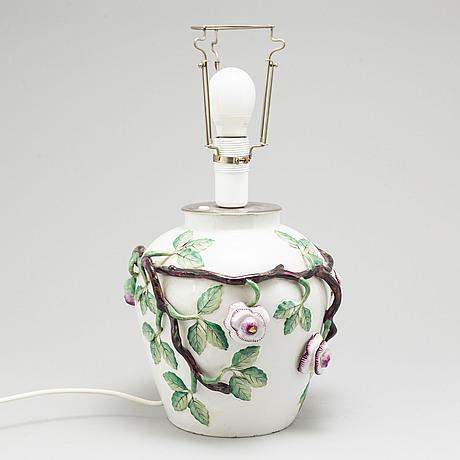 A 'rörstrandia' faiance pot, turned into a table lamp, rörstrand, 20th century