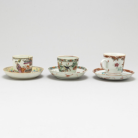 Three cups with dishes, and two  dishes, qing dynasty, kangxi, qianlong and 19th century