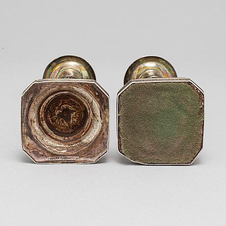 A pair of silver empire candlesticks by johan wahlström, jönköping sweden 1836