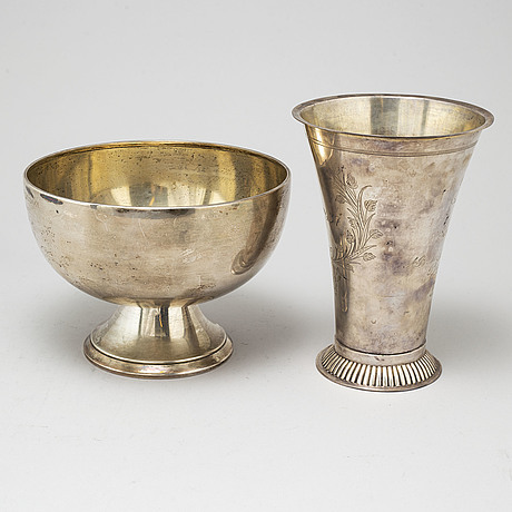 A silver beaker and bowl, sweden first half of the 20th century