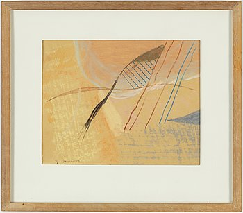 RUNE JANSSON, crayon on paper, signed and dated 1953.