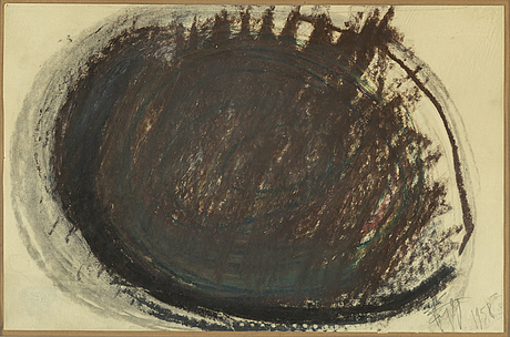 Eddie figge, mixed media on paper, signed and dated 1958.