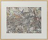 Johan strandahl, ink and watercolour on paper, signed and dated 2011 on label on verso