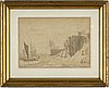 Anton melbye, ink wash, signed and dated 1840.
