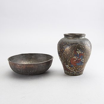 A Persian 19th century metal bowl and vase.