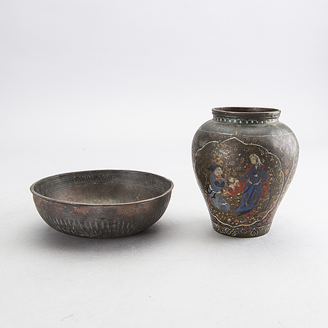 A persian 19th century metal bowl and vase