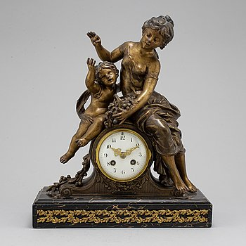 BORDSUR, bronserad metall och marmor, Frankrike, 1800-talets andra hälft.