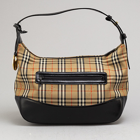 Burberry, a plaid cotton and leather bag