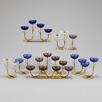 GUNNAR ANDER, nine brass candlesticks from Ystad-Metall.