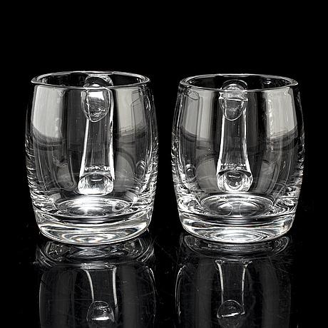 "Bertil vallien, ölsejdlar, 9 st, glas, ""dragon"", boda Åfors glasbruk, 1960 tal"