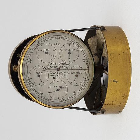 A brass air meter, james brown, glasgow, scottland, late 19th century