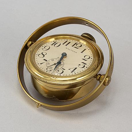 A waltham 8 day marine chronometer deck clock, usa, early 20th century