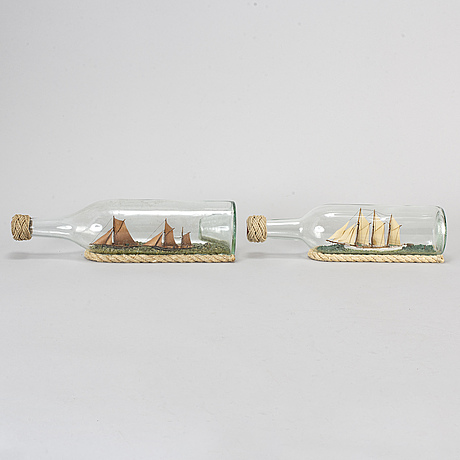 Five bottle ships, four of which signed gf and dated 1980 1982