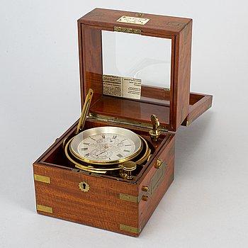 A Victor Kullberg 2 day marine chronometer deck clock, England, late 19th Century.