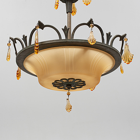 A 1920/30's ceiling lamp, possibly simon gate.