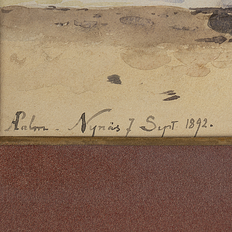 Anna palm de rosa, watercolour, signed and dated nynäs sep 7 1892.