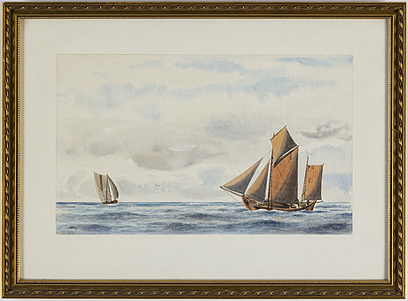 Unknown artist, 20th century, watercolours, 5, signed m hägg