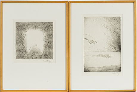 Two evert lundquist etchings, signed.