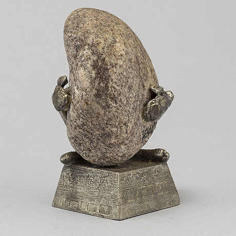 Henry gustafsson, a stone and pewter sculpture from wimmerby tenn, vimmerby, 1986