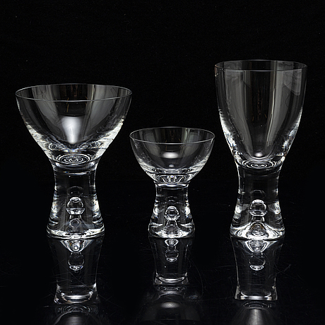 Tapio wirkkala, a part 'tapio' glass service, for iittala, second half of the 20th century (38 pieces).