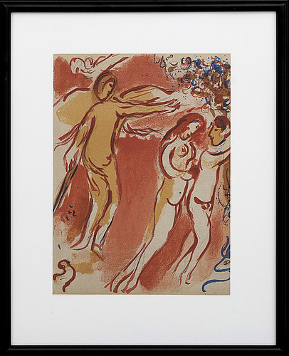 Marc chagall, colour lithographe, unsigned, from verve vol x no 37-38 1960.