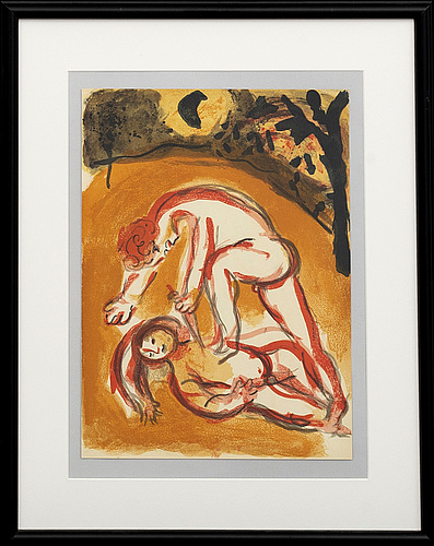 Marc chagall, colour lithographe, unsigned from verve vol x no 37-38 1960.