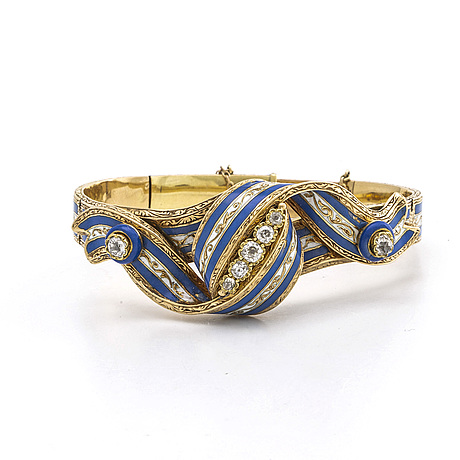Bangle 18k gold, enamel and old cut diamonds approx 1 ct in total
