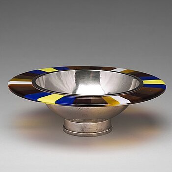 173. Rolf Karlsson, a sterling silver and glass bowl, Enköping (Grillby), 1996.