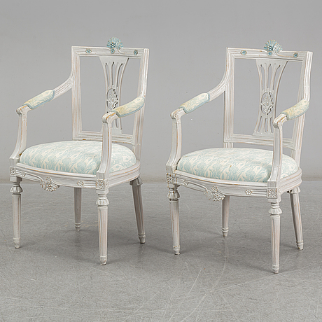 A pair of late gustavian armchairs, early 19th century