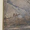 Anna palm de rosa, akvarell med täckvitt, signerad anna palm.