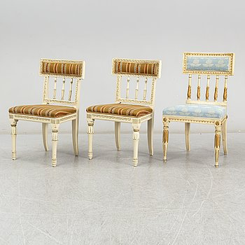Chairs 1+2, one late gustavian, two 19th century.