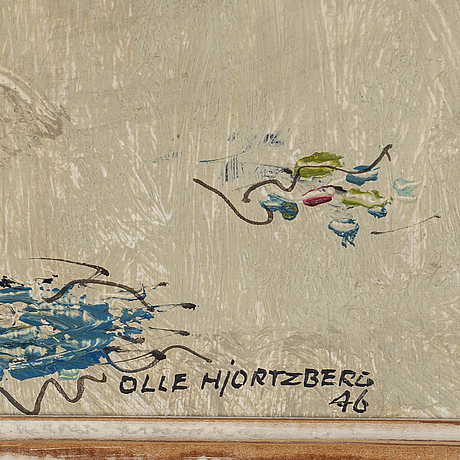 Olle hjortzberg, oil on panel, signed and dated  46