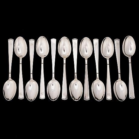 """Jacob Ängman, bestickuppsättning 102 delar, silver, """"rosenholm"""", gab, stockholm, 1937."""