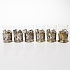 Tea glass holders, 6 pcs, silver, soviet union, mid 20th century. total weight 537 g.