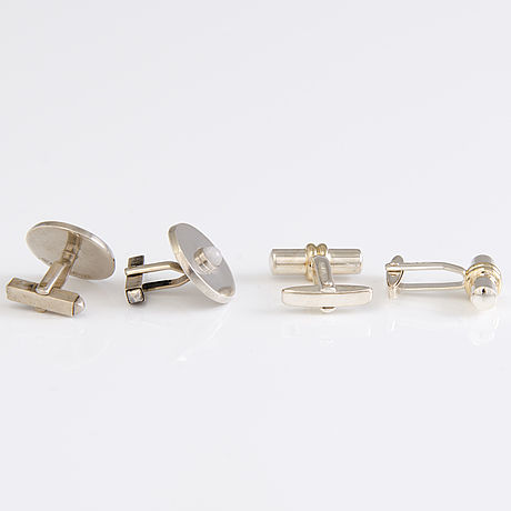 Two pairs of cufflinks in silver by torbjörn tillander atelier and hauli aatos johannes, helsinki finland.
