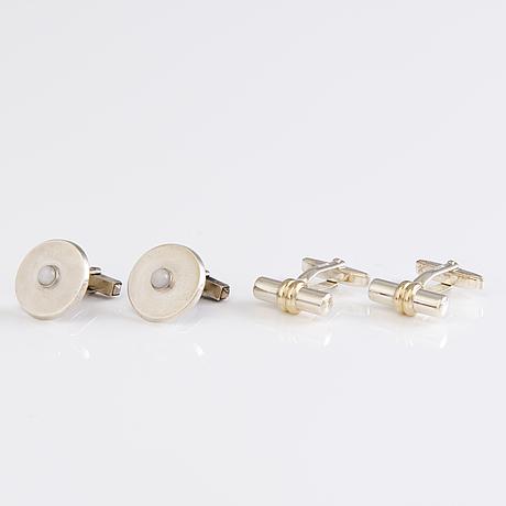 Two pairs of cufflinks in silver by torbjörn tillander atelier and hauli aatos johannes, helsinki finland