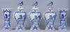 Vaser, ett par samt lockurnor, 3 st, fajans, holland, 1800/1900-tal.