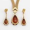 Necklace and earrings, 18k gold with pear shaped faceted citrines. earrings most likely  w.a. bolin, 1960's