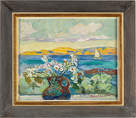 Harald lindberg, oil on canvas, signed and dated 63