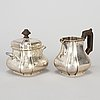 A silver creamer and a sugar bowl with lid, swedish import marks