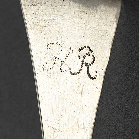 A swedish silver rat tail spoon, 18th century