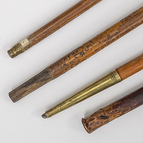 Four brass mounted walkin sticks, 18th/19th century.